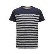 Jack & Jones Mens Casual Beth Striped T Shirt Navy