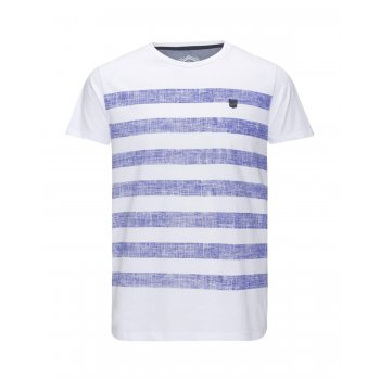Jack & Jones Mens Casual Beth Striped T Shirt White