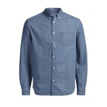 Jack & Jones Mens Casual Designer Denim Shirt Mid Stonewash