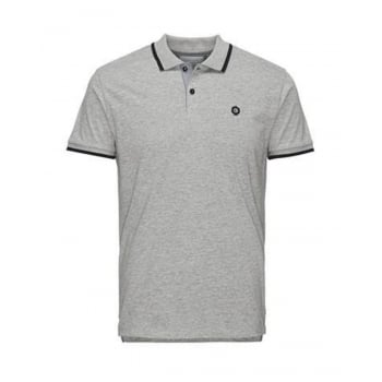 Jack & Jones Mens Casual Duct Slim Fit Polo Shirts Light Grey