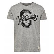 Jack & Jones Mens Casual Raffa Crew Neck T-Shirt Grey