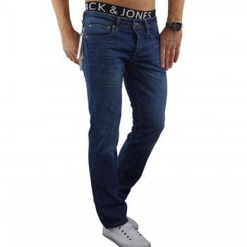 Jack & Jones Mens Clark Original Straight Leg Fit Jeans Mid Stone Used Look
