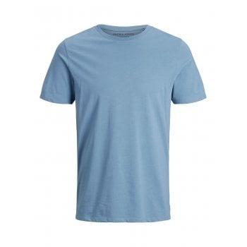 Jack & Jones Mens Crew Neck Slim Fit T-shirt Stretchy Plain Lycra Cotton Tee Blue Heaven