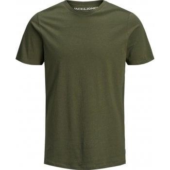 Jack & Jones Mens Crew Neck Slim Fit T-shirt Stretchy Plain Lycra Cotton Tee Dusky Olive