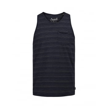 Jack & Jones Mens Designer Branded Pasadena Striped Tank Vest Peach Beige