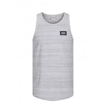 Jack & Jones Mens Designer Branded Regular Fit Constructed Tank Vest White Melange