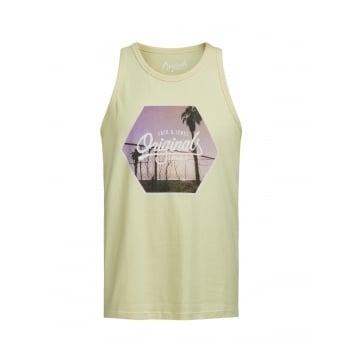 Jack & Jones Mens Designer Branded Regular Fit Ocean Tank Vest Lily Pad