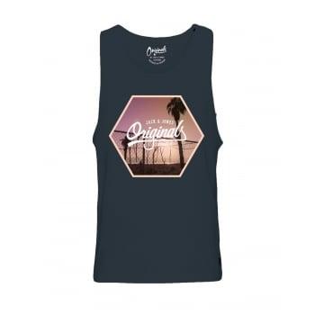 Jack & Jones Mens Designer Branded Regular Fit Ocean Tank Vest Total Eclipse