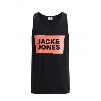 Jack & Jones Mens Designer Branded Regular Fit Tukano Tank Vest Black