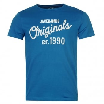 Jack & Jones Mens Designer Join Branded T Shirt Imperial Blue