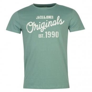 Jack & Jones Mens Designer Join Branded T Shirt Mineral Blue
