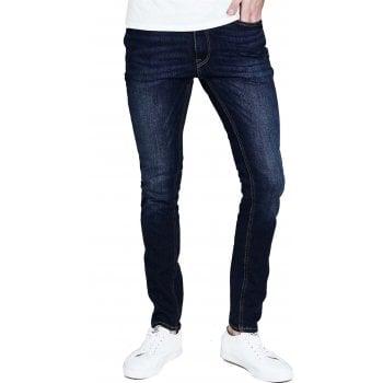 Jack & Jones Mens Liam 014 Original Skinny Fit Jeans Dark Used Look