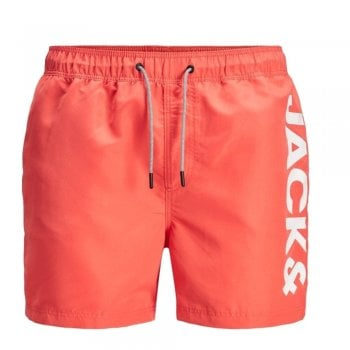 Jack & Jones Mens New Branded JJIARUBA Swim Shorts Hot Coral