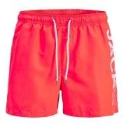 Jack & Jones Mens New Branded Sunset Swim Shorts Fiery Coral