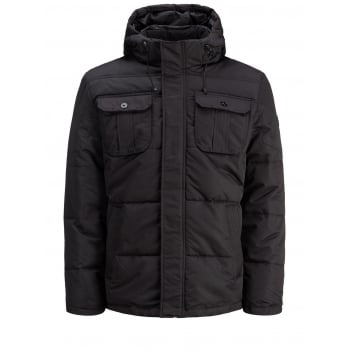 Jack & Jones Mens New Casual Will Hooded Puffer Winter Jacket Black