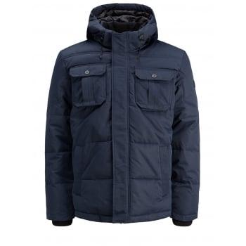 Jack & Jones Mens New Casual Will Hooded Winter Puffer Jacket Sky Captain