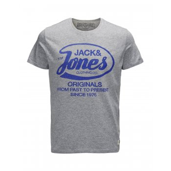 Jack & Jones Mens New Raffa Classic T Shirt Grey