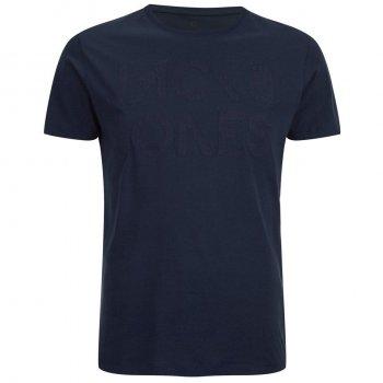 Jack & Jones Mens Rupert Embossed Casual Designer T Shirt Navy Blazer