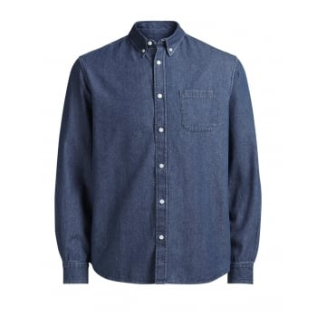 Jack & Jones Mens Slim Fit Designer Denim Shirt Dark Stonewash