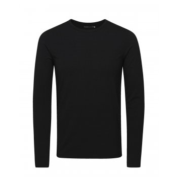Jack & Jones Mens Slim Fit Stretch Plain Long Sleeve T Shirts Black