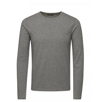 Jack & Jones Mens Slim Fit Stretch Plain Long Sleeve T Shirts Grey