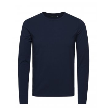 Jack & Jones Mens Slim Fit Stretch Plain Long Sleeve T Shirts Navy