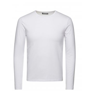 Jack & Jones Mens Slim Fit Stretch Plain Long Sleeve T Shirts White