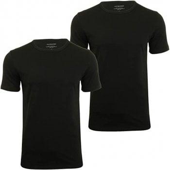 Jack & Jones New Mens 2 Pack Crew Neck Slim Fit T-shirt Stretchy Plain Lycra Cotton Tee Black