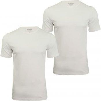Jack & Jones New Mens 2 Pack Crew Neck Slim Fit T-shirt Stretchy Plain Lycra Cotton Tee White