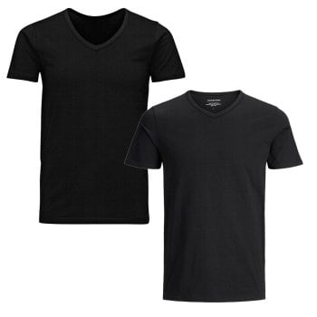 Jack & Jones New Mens 2 Pack V Neck Slim Fit T-shirt Stretchy Plain Lycra Cotton Tee Black
