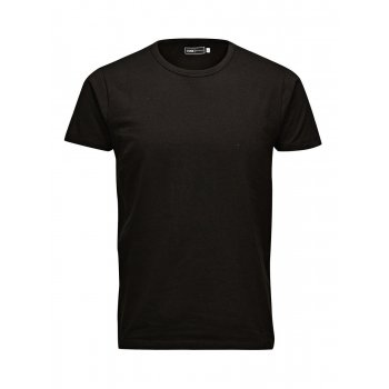 Jack & Jones New Mens Crew Neck Slim Fit T-shirt Stretchy Plain Lycra Cotton Tee Black