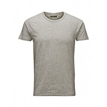 Jack & Jones New Mens Crew Neck Slim Fit T-shirt Stretchy Plain Lycra Cotton Tee Grey