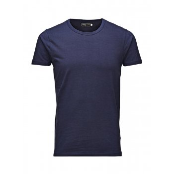 Jack & Jones New Mens Crew Neck Slim Fit T-shirt Stretchy Plain Lycra Cotton Tee Navy