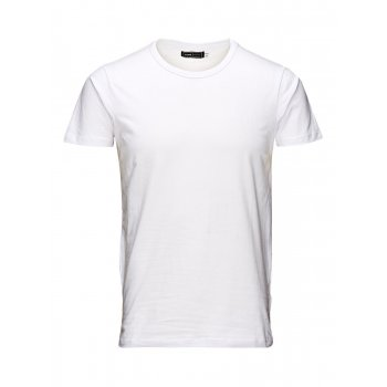 Jack & Jones New Mens Crew Neck Slim Fit T-shirt Stretchy Plain Lycra Cotton Tee White