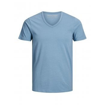 Jack & Jones New Mens V Neck Slim Fit T-shirt Stretchy Plain Lycra Cotton Tee Blue Heavens