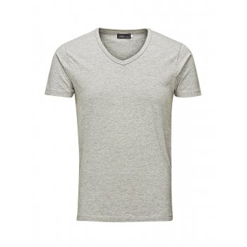 Jack & Jones New Mens V Neck Slim Fit T-shirt Stretchy Plain Lycra Cotton Tee Grey