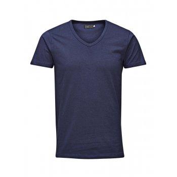 Jack & Jones New Mens V Neck Slim Fit T-shirt Stretchy Plain Lycra Cotton Tee Navy