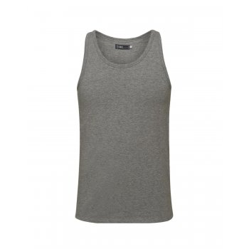Jack & Jones New Mens Vest Slim Fit T-shirt Stretchy Plain Lycra Cotton Tee Grey