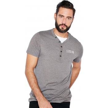 Jack & Jones Paven Split Neck T-Shirt Grey Melange
