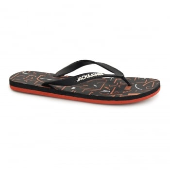 Jack & Jones Tech Print Rubber Branded Flip Flops Black