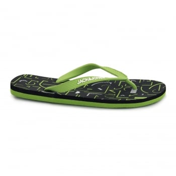 Jack & Jones Tech Print Rubber Branded Flip Flops Forest Night