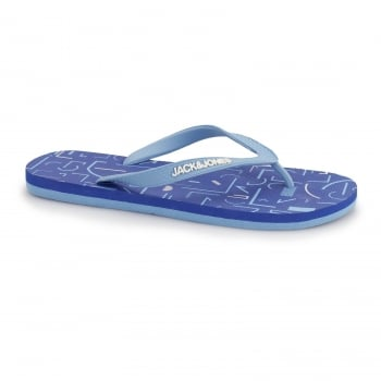 Jack & Jones Tech Print Rubber Branded Flip Flops Victoria Blue