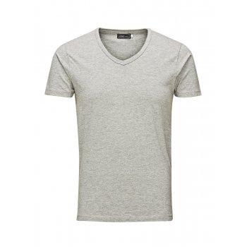 Jack & Jones Jack & Jones V Neck Quality Plain T-Shirts Grey