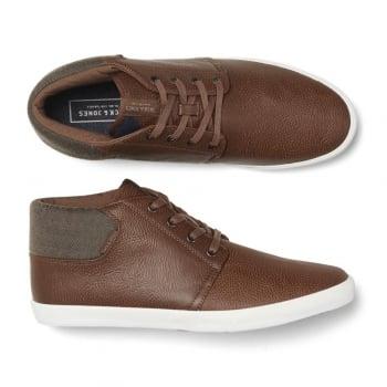 Jack & Jones Vertigo PU Sneakers Mix High Top Core Trainers Pumps Cognac