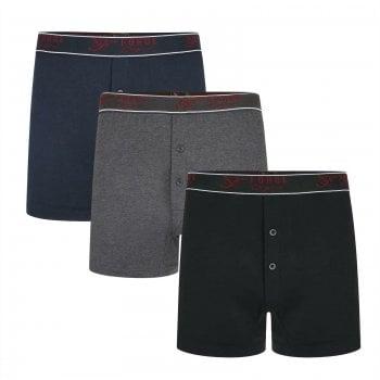 Kam Jeans Forge Men's Boxer Shorts 3 Pack Trunks Cotton Underwear Button Fly Underpants