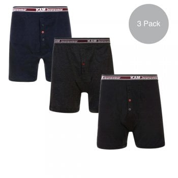Kam Jeans Kam New Mens Kingsize Big Cotton Boxer Shorts Button Fly XL Underwear 3 Pack