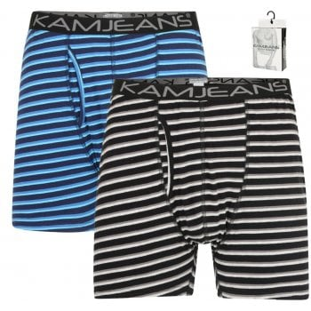 Kam Jeans Kam New Mens Kingsize Striped Boxer Shorts XL Underwear 2 Pack
