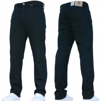 Kam Jeans Mens Forge Jeans Heavy Duty Workwear Basic Straight Regular Fit Black Jeans