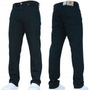 Mens Forge Jeans Heavy Duty Workwear Basic Straight Regular Fit Black Jeans