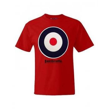 Lambretta Casual Vintage Retro Target T-Shirt Red